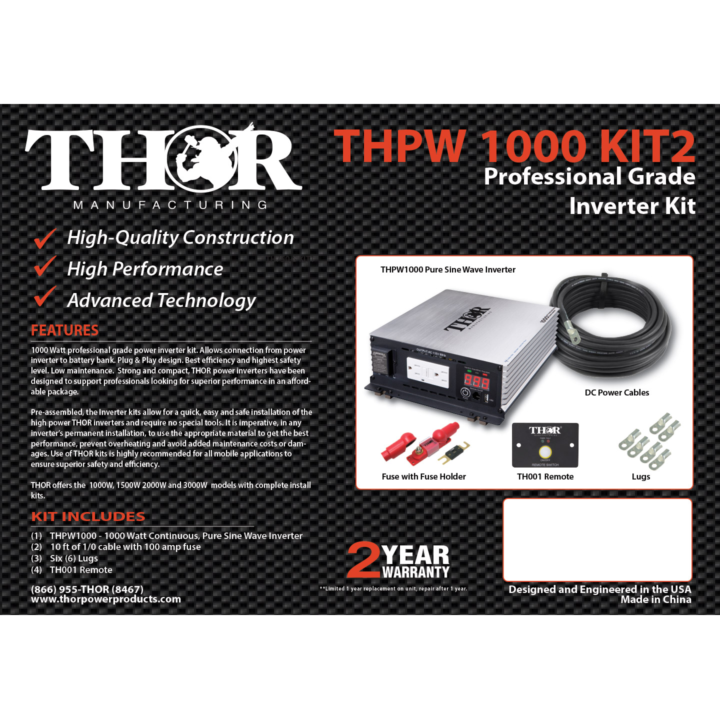 Psw Inverter Install Kits Archives Thor Manufacturing 1000 Watt Amp Wiring Kit Thpw1000 2